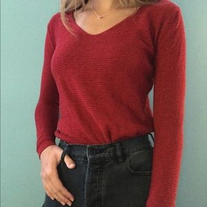red tight knit sweater